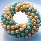 Blue white beaded circular round pin Vintage