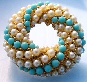 Blue white beaded circular round pin Vintage