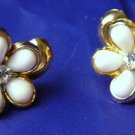 Vintage script Coro Screwback earrings Milkglass RHinestone