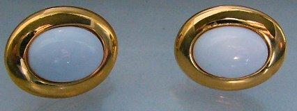 VTG Napier screw on Clip adjustable white Oval Earrings