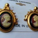Retro look Pony Tail Girl Cameo dangle Pierced  Earrings