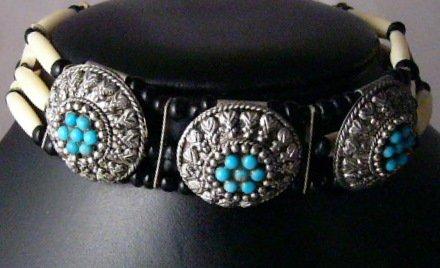 3 strand Bone Bead Metal  choker native american Indian