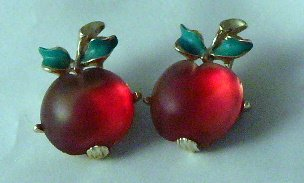 Two 2 Vintage red Cherry Apple Glass Pin brooch enamel