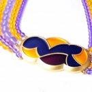 BIG Enamel 5 strand bead Necklace Signed Monet Vintage