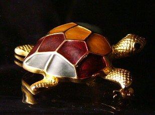 Multi color Enamel shell Goldtone Turtle pin