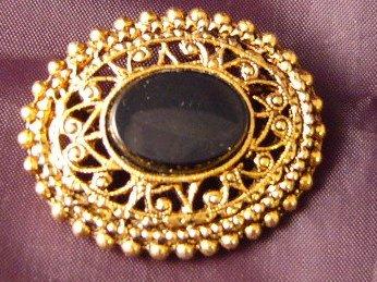 Oval Black Goldtone ornate Pin Vintage