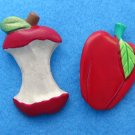 2 juicy red apple pins Full & eaten Unsigned