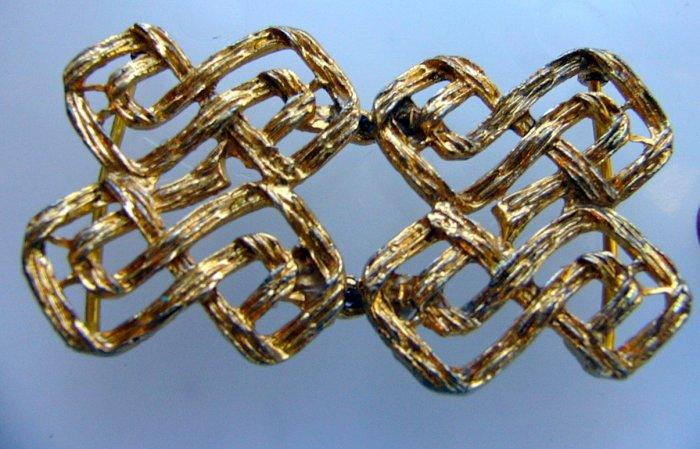 Vintage  Woven  X  Abstract Goldtone 2 piece buckle