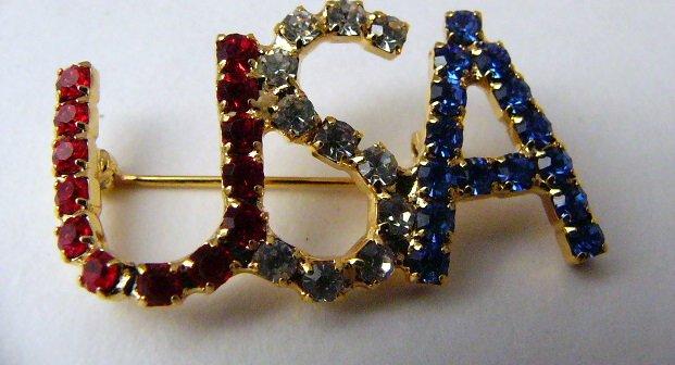 Red White Blue Rhinestone USA Pin Goldtone