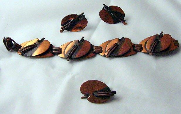 Copper Parure  Link Bracelet Pin Palette  earrings  unsigned