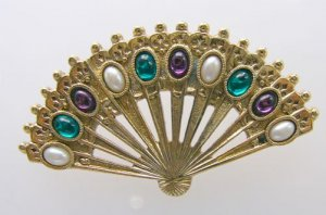 Goldtone open fan Pin  Colorful cabechons