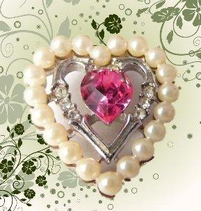 Vintage Avon Pink Rhinestone Faux Pearl Heart  Pendant