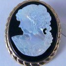 Mop Mother of Pear vintage Cameo Pin Pendant