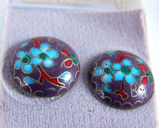 Vintage Handmade Cloisonne Post Earrings Vintage New
