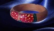 Strawberry design  red Retro  Painted wood Bangle Bracelet