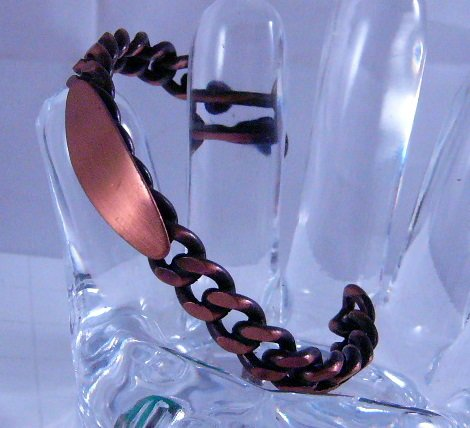 Copper ID Cuff Chain Bracelet Vintage