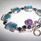 $125 MURANO GLASS & CRYSTAL AMETHYST BRACELET NEW! WOW