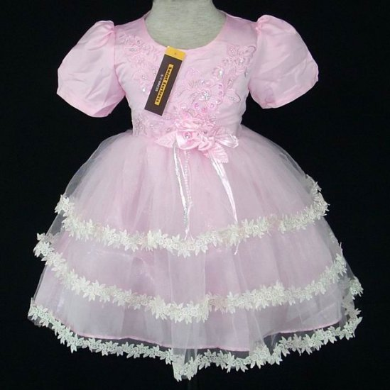 Brand New with Tag Pageant/wedding girl dress Pink  with Sleeves size 3/3T