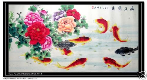 Feng Shui Painting 9 Koi Fish and peony flowers New