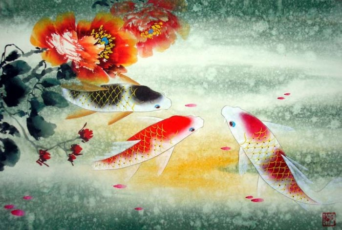 Feng Shui Painting Lucky 3 Koi Fish and peony flowers New