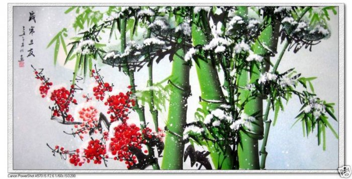 Feng Shui Painting Lucky Bamboo Red Plum and snow New