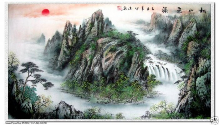 Feng Shui Painting Lucky Mountain  and waterfall New