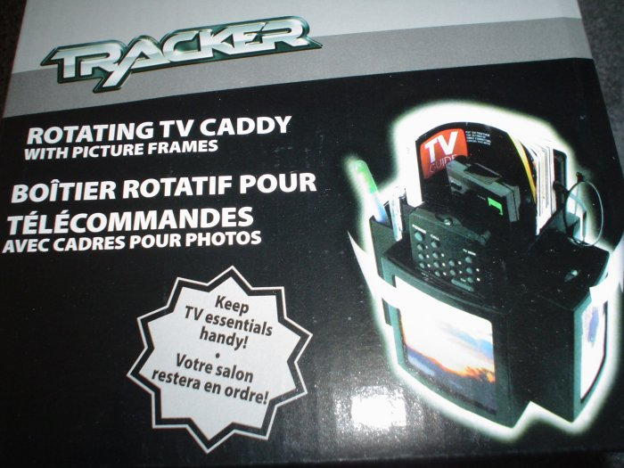 BLACK ROTATING TV CADDY WITH PICTURE FRAMES NEW IN BOX