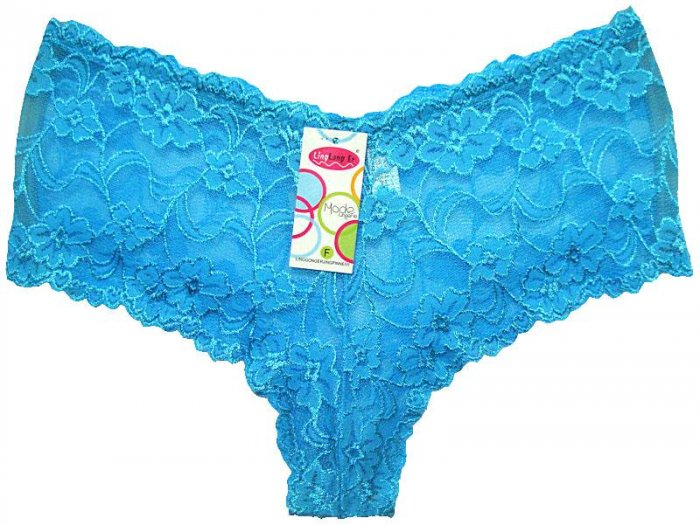 Boxer Short Lace Panties blue Ladies One Size New with Tags