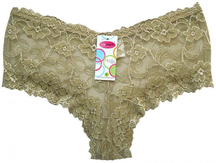 Boxer Short Lace Panties Gray Ladies One Size New with Tags
