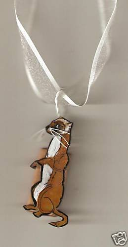 FERRET FUN AND FUNKY  HANDPAINTED NECKLACE ADORABLE