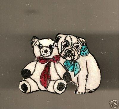 BULLDOG PUPPY & BEAR HANDPAINTED PIN W/BAIL PRECIOUS