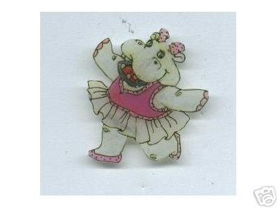 DANCING HIPPO ADORABLE BROOCH PIN HANDPAINTED