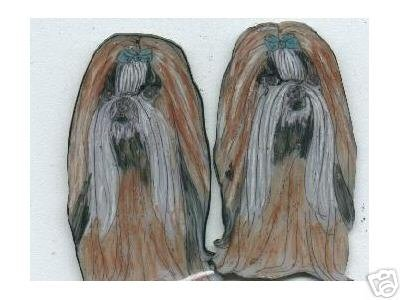 SHIH TZU DOG EARRINGS ALL COLORS AND MARKINGS ART