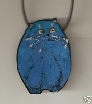 CAT WIRE WRAPPED  HAND PAINTED PIN WITH BAIL NECKLACE