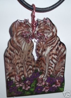 CAT TWIN KISSING TABBIES NECKLACE KITTY HANDPAINTED