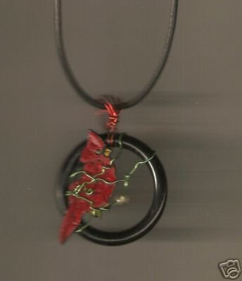 CARDINAL BIRD HANDPAINTED WIRE WRAPPED NECKLACE W/BEA