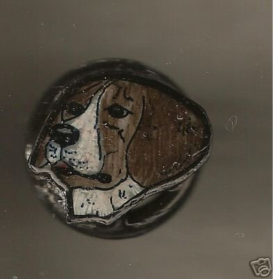 BEAGLE HANDPAINTED WIRE WRAPPED RING ARTISAN ART