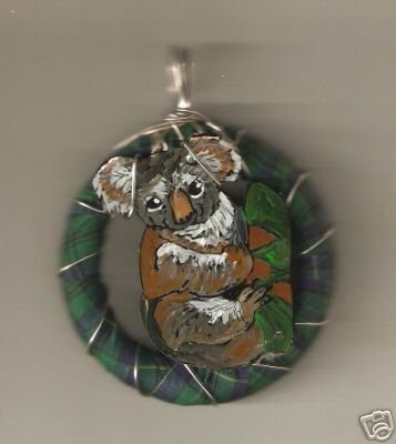 KOALA HANDPAINTED WIRE RIBBON WRAPPED NECKLACE AWESOME
