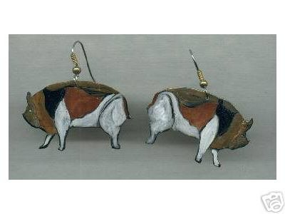 PIG HANDPAINTED EARRINGS STYLIZED AND PRETTY