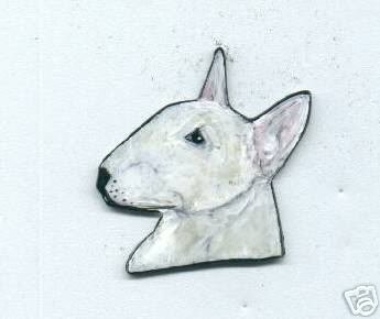 BULL TERRIER  PIN  WHITE or  COLORED EARRINGS AVAILABLE