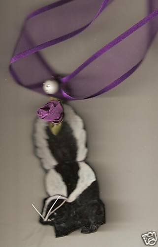 SKUNK FUN AND FUNKY  HANDPAINTED NECKLACE ADORABLE