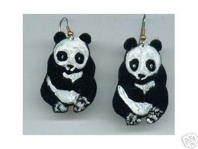 PANDA EARRINGS CHINA ZOO WILD 3 SIZES AVAILABLE CUTE