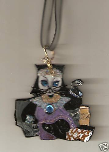 CAT  NECKLACE CLEOPATRA EGYPT WEARABLE ART BLING WIRE