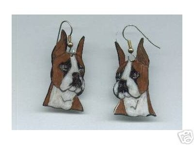 BOXER  DOG HANDPAINTED EARRINGS AND PIN SET BROOCH