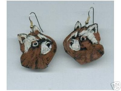 RACCOON ADORABLE FACE HAND PAINTED EARRINGS