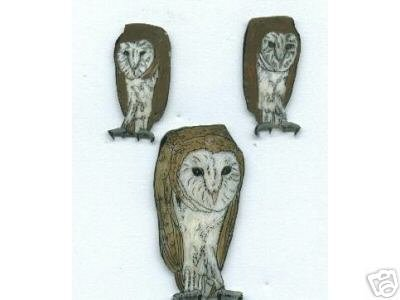 BARN OWL EARRINGS PIN SET HANDPAINTED AVIAN BIRD HOOT