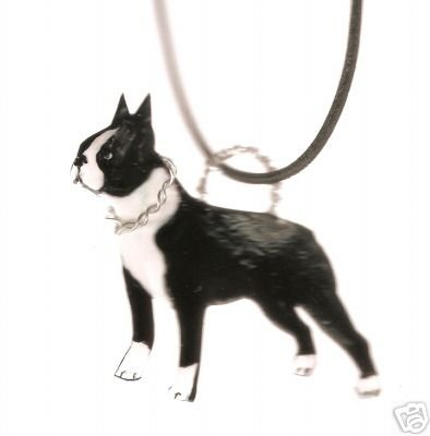 BOSTON TERRIER DOG HANDPAINTED WIRE WRAPPED NECKLACE