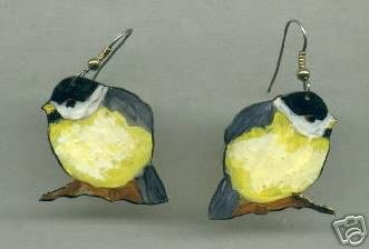 CHICKADEE BIRD BEAUTIFUL ART TO WEAR EARRINGS