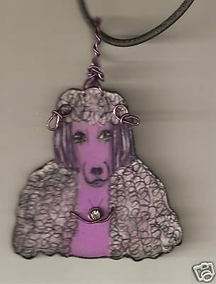 POODLE HOT PINK POSH DOG WIRE NECKLACE  AMULET PENDANT