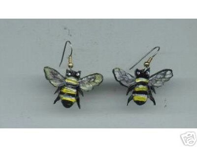 BUMBLE BEES BUG INSECT EARRINGS HAND PAINTED